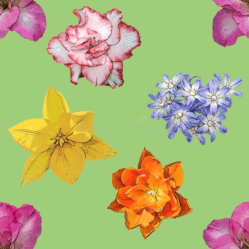 Картина предпосылки зеленых цветков весны безшовная стоковая фотография rf