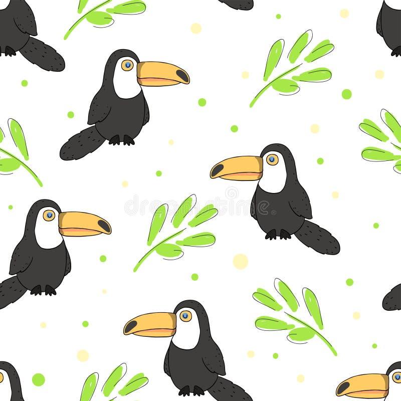 Картина предпосылки toucan и тропического флористического лета иллюстрации вектора безшовная иллюстрация штока