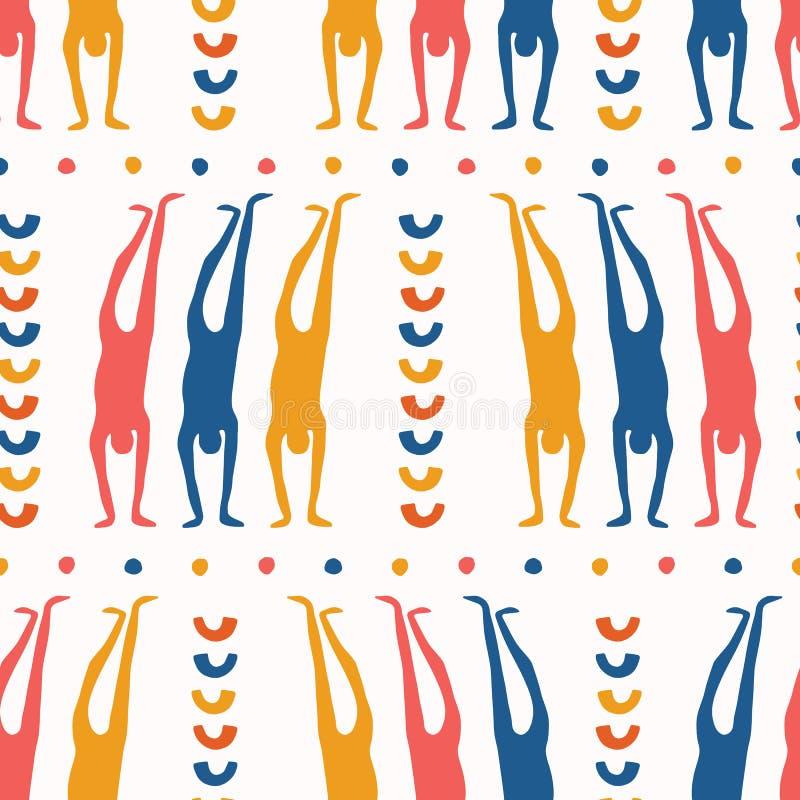 Картина представления handstand людей тела безшовная Позиция спорта йоги на всем предпосылка печати Бумага отрезала вне человечес иллюстрация вектора