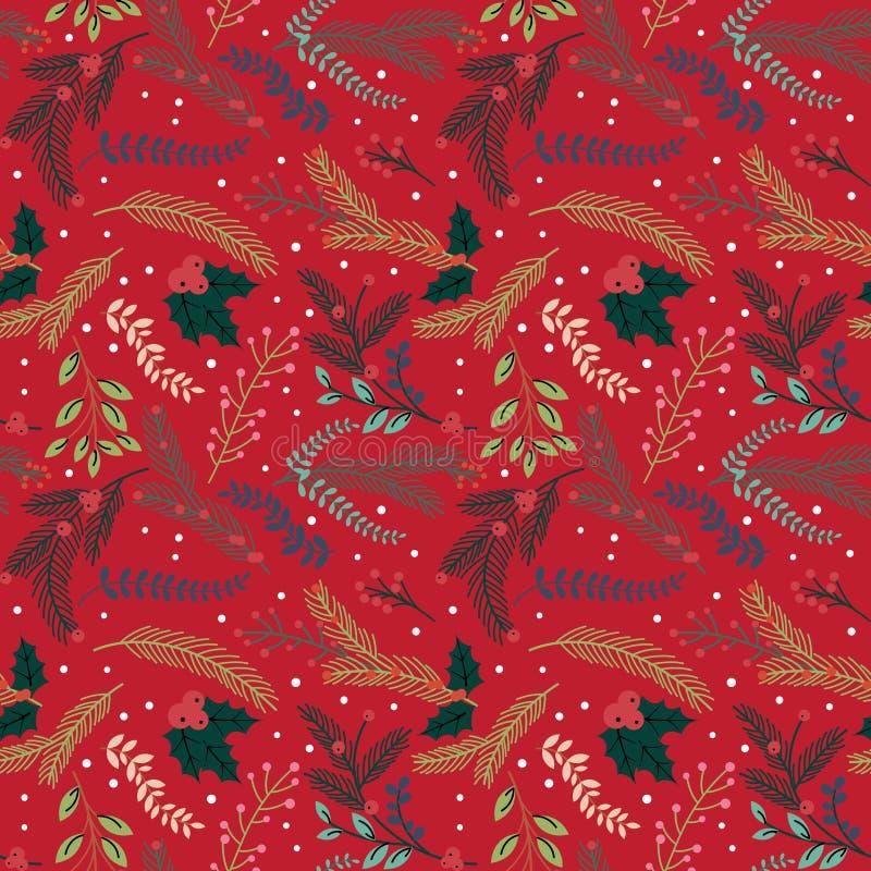 Картина предпосылки безшовного праздника рождества Tileable флористическая иллюстрация вектора