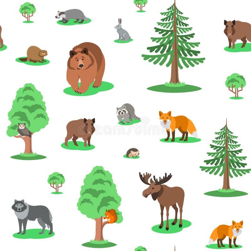 Картина предпосылки милых животных леса безшовная бесплатная иллюстрация