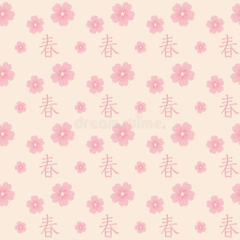 Картина предпосылки с розовыми цветками вишни и стилизованным иероглифом иллюстрация вектора