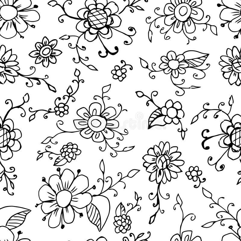 картина предпосылки флористическая безшовная Завод вектора красивый черная белизна цветка Винтажное оформление иллюстрация вектора
