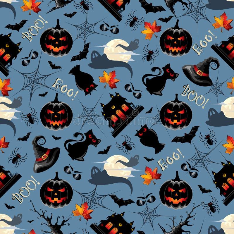 Картина предпосылки хеллоуина безшовная иллюстрация вектора