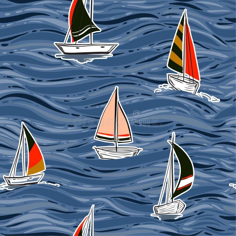 Картина прибоя ветра красочной ультрамодной руки рисуя безшовная в векторе на иллюстрации океана Иллюстрация волны пляжа лета иллюстрация штока