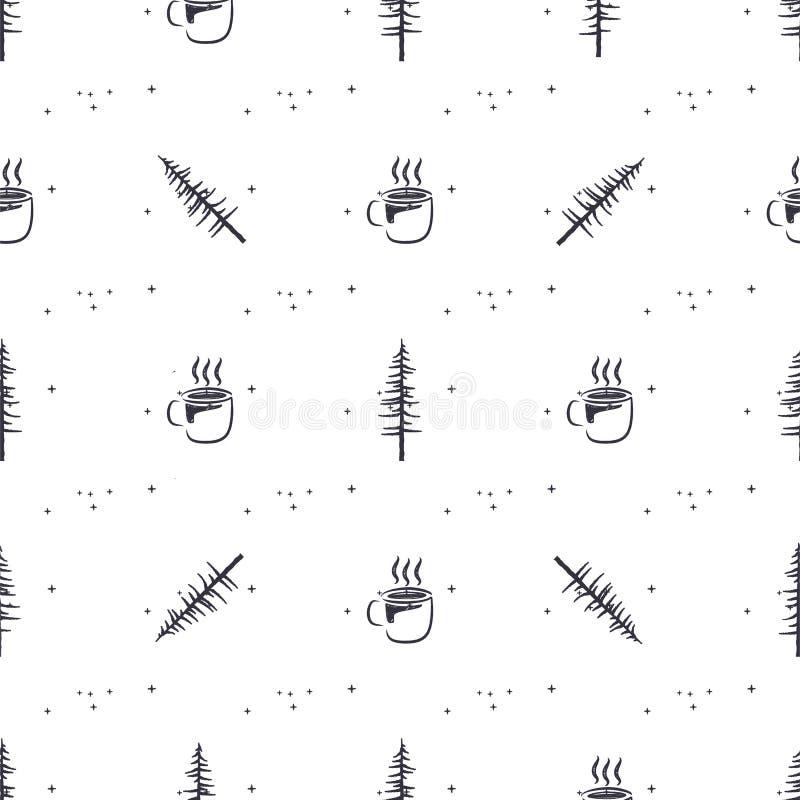 Картина приключения леса безшовная с деревьями и кофейной чашкой Дизайн огорченный силуэтом Располагаться лагерем вектора запаса бесплатная иллюстрация