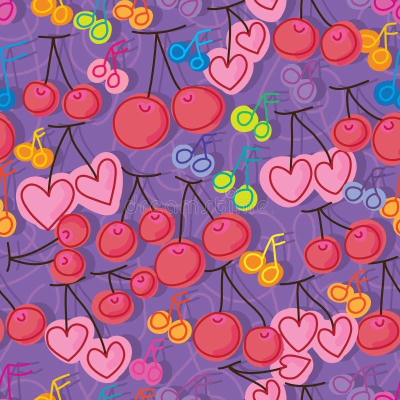 Картина примечания музыки вишни безшовная иллюстрация штока