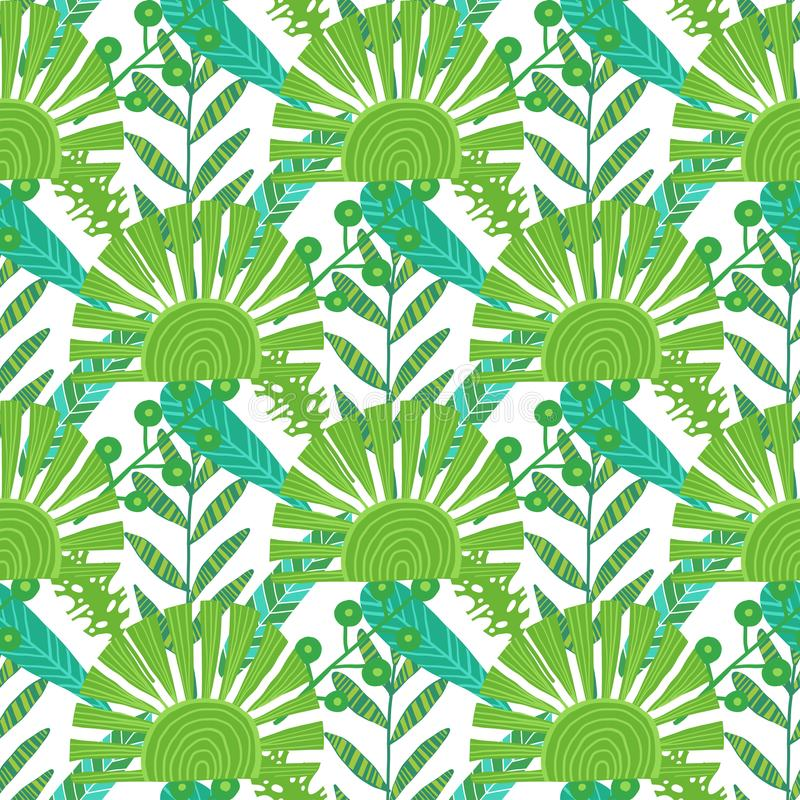 картина природы безшовная Вручите вычерченную абстрактную тропическую ладонь предпосылки лета, листья monstera в силуэте, линии и бесплатная иллюстрация
