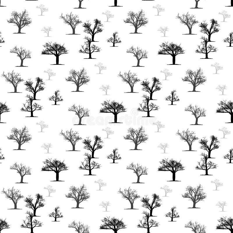 Картина природы безшовная Предпосылка крыть черепицей черепицей лесом Картина деревьев безшовная Флористические черно-белые обои  иллюстрация вектора