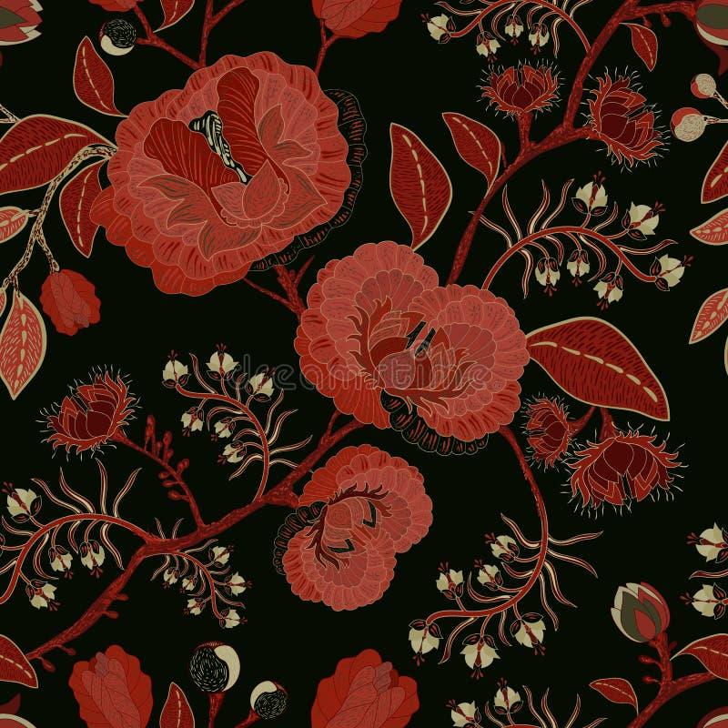 Картина природы вектора безшовная Предпосылка с большими декоративными цветками Темная флористическая картина Готский тип иллюстрация вектора
