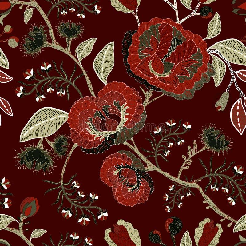 Картина природы вектора безшовная Предпосылка с большими декоративными цветками Темная флористическая картина Готский тип бесплатная иллюстрация