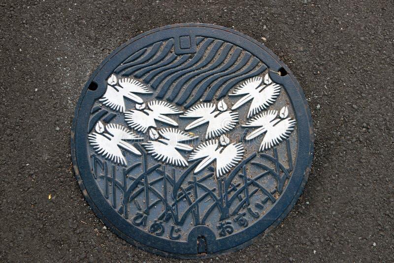 Картина природы красоты крышки люка Japan's на тротуаре стоковые фотографии rf