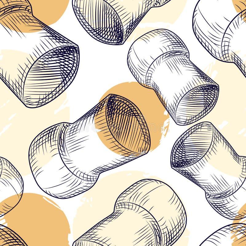 Картина пробочки бутылки вина Шампань безшовная Пробочка укупоривает фон иллюстрация вектора