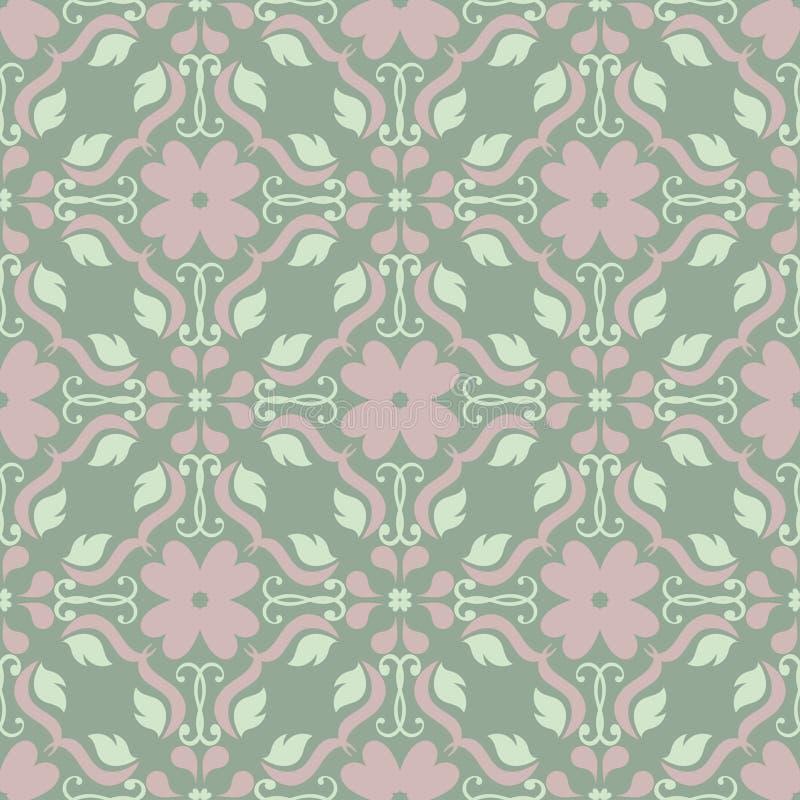Картина прованского зеленого цвета флористическая безшовная Предпосылка с дизайнами цветка иллюстрация вектора