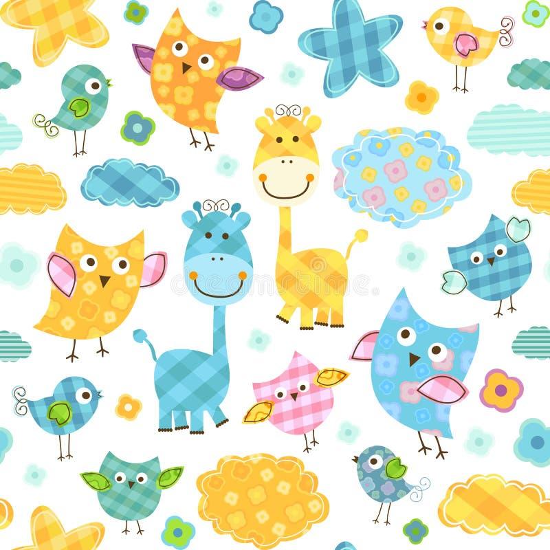 Картина птиц и жирафов иллюстрация вектора
