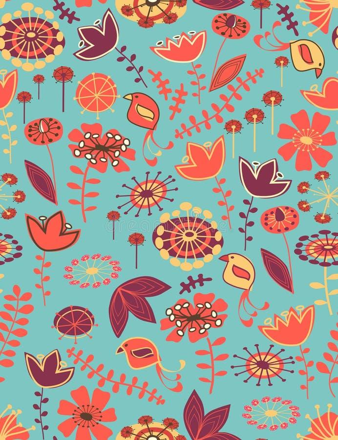 картина птиц флористическая безшовная иллюстрация вектора