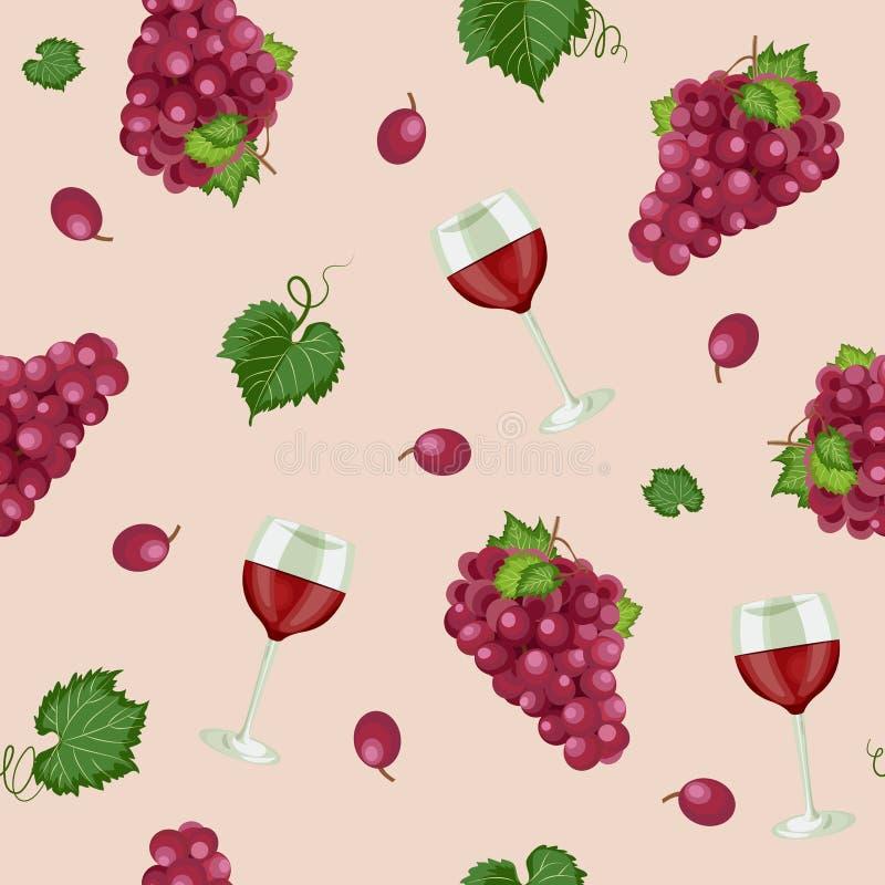 Картина пука виноградины безшовная с красными бокалами на розовой розовой предпосылке, предпосылке картины красных виноградин, кр бесплатная иллюстрация