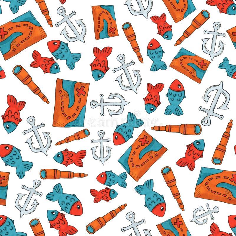 Картина путешествием Океании безшовная красочные объекты повторяя предпосылку для сети и цели печати искусство отметки бесплатная иллюстрация