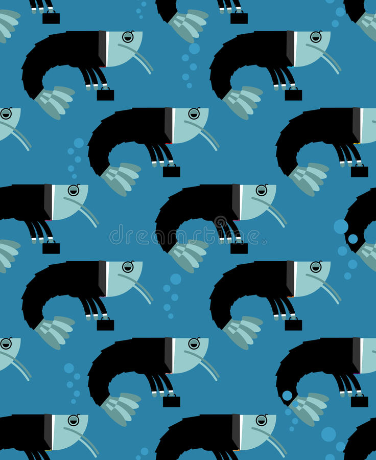 Картина планктона офиса безшовная Креветка в textur делового костюма бесплатная иллюстрация