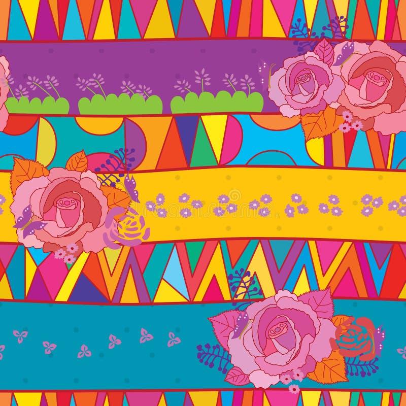 Картина племенной керамической розы смешивания безшовная иллюстрация штока