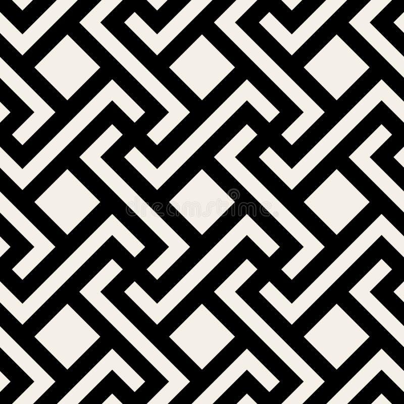 Картина плитки квадрата креста косоугольника вектора безшовная черно-белая геометрическая иллюстрация штока