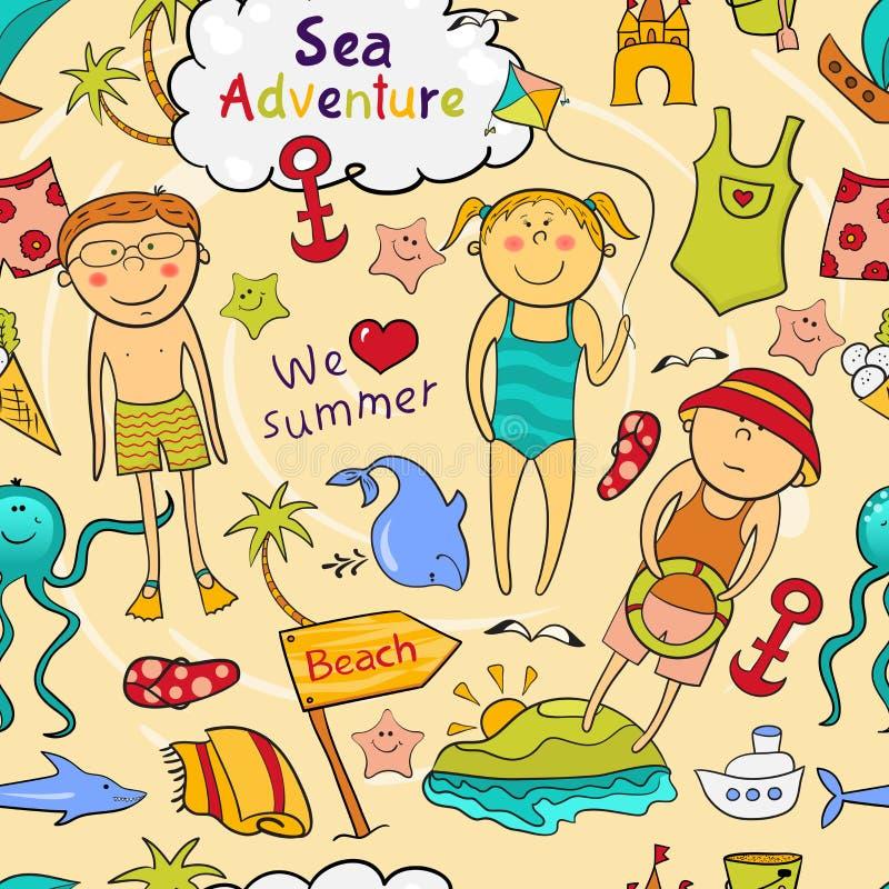 Картина пляжа безшовная в стиле doodle бесплатная иллюстрация