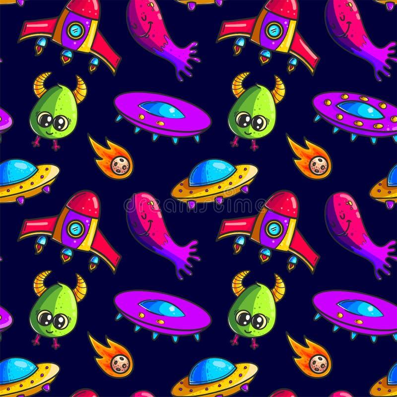 Картина ракет и чужеземцев мультфильма безшовная бесплатная иллюстрация