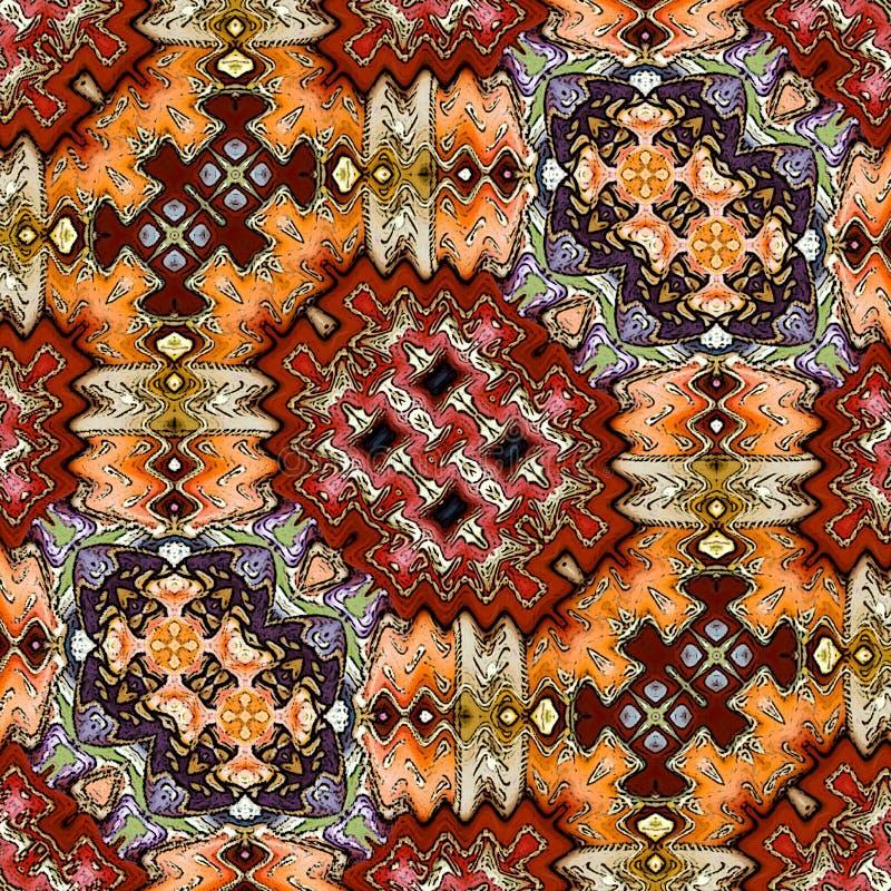 Картина рамки Шеврона для печати половика Уютная предпосылка в цветах осени: сладкие карамелька и апельсин Морокканская ткань ков иллюстрация вектора