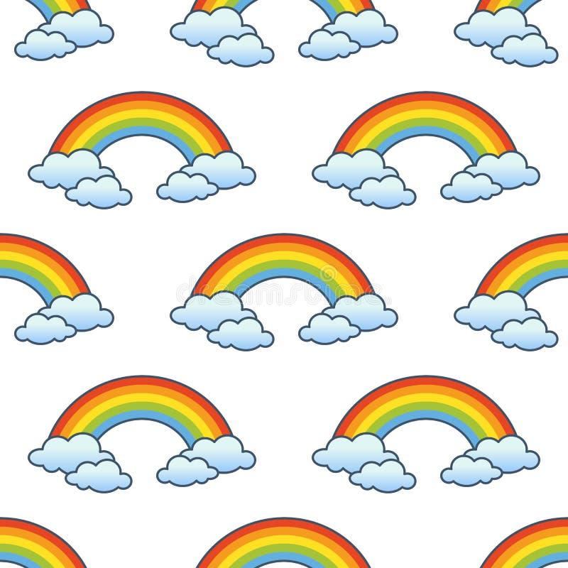 Картина радуги & облаков безшовная иллюстрация вектора