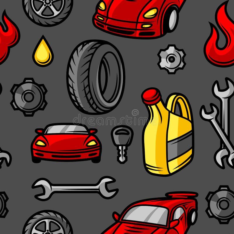 Картина ремонта автомобиля безшовная с объектами и деталями обслуживания бесплатная иллюстрация