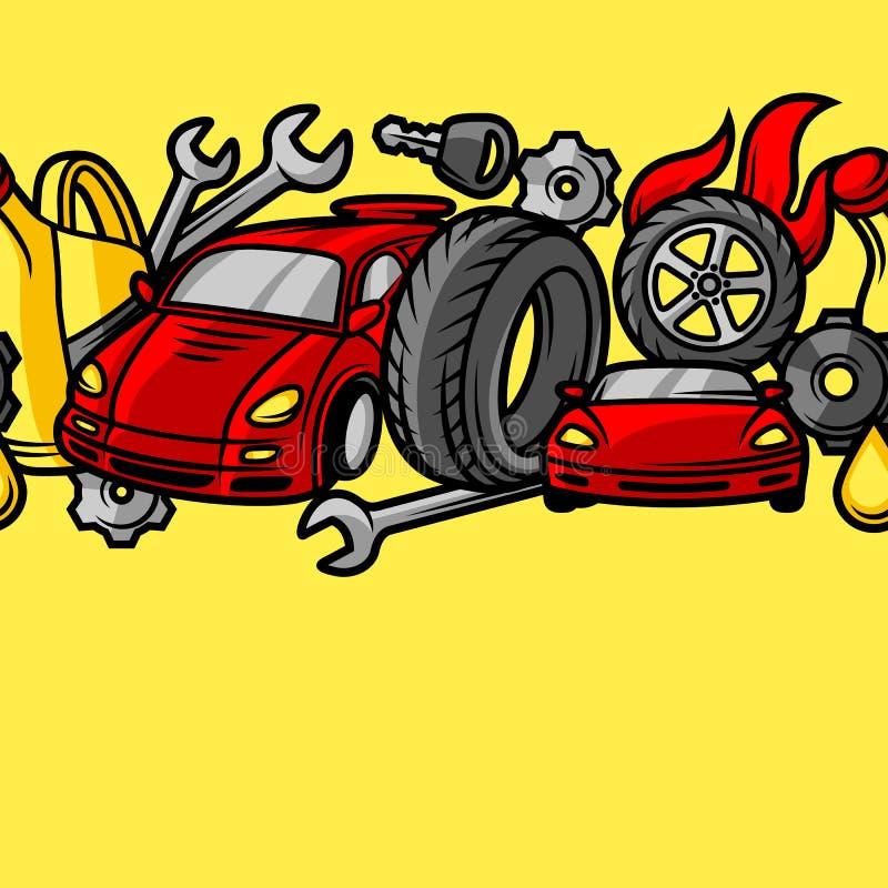 Картина ремонта автомобиля безшовная с объектами и деталями обслуживания иллюстрация штока