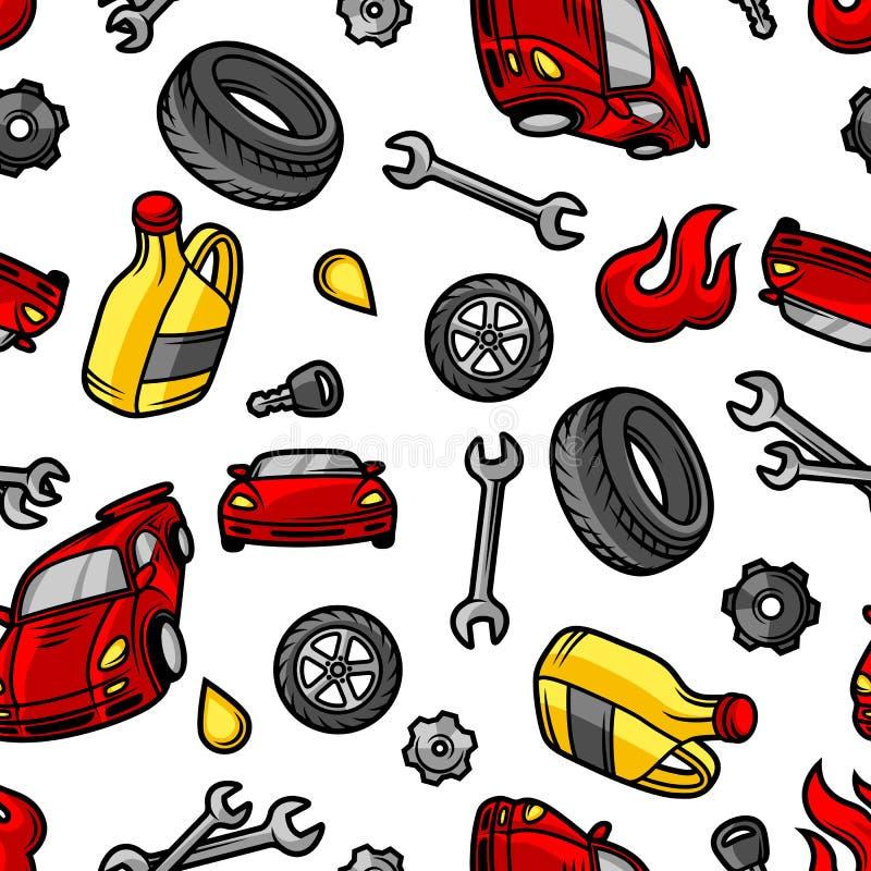 Картина ремонта автомобиля безшовная с объектами и деталями обслуживания иллюстрация вектора