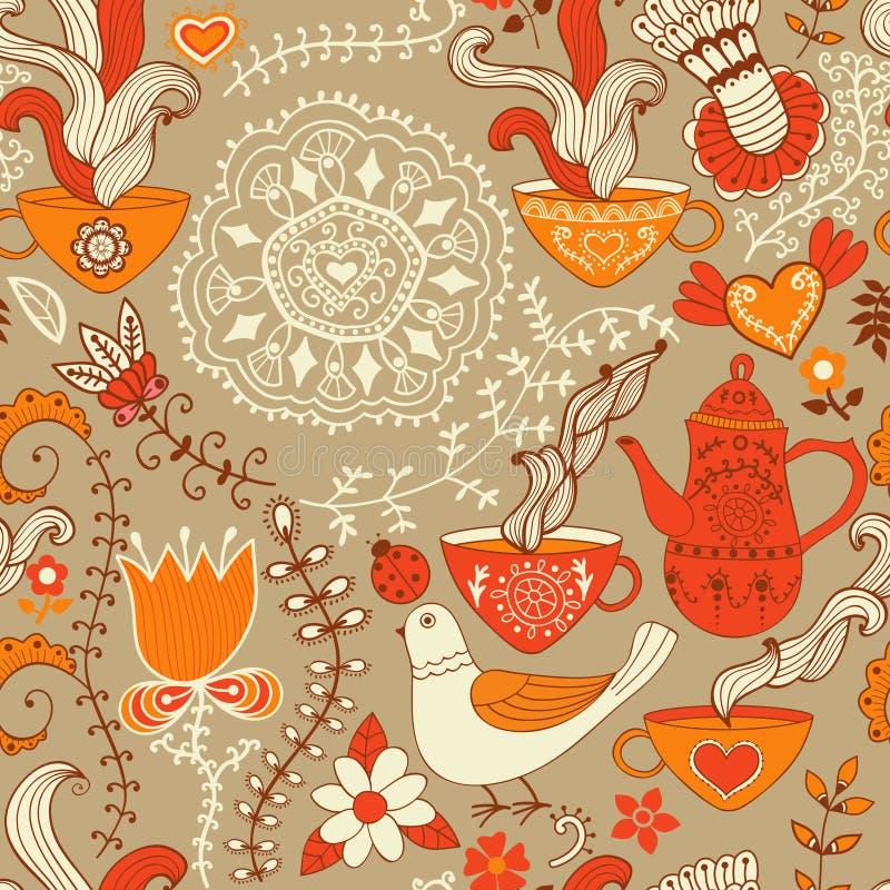 Картина ретро кофе безшовная, предпосылка чая, текстура с чашками бесплатная иллюстрация