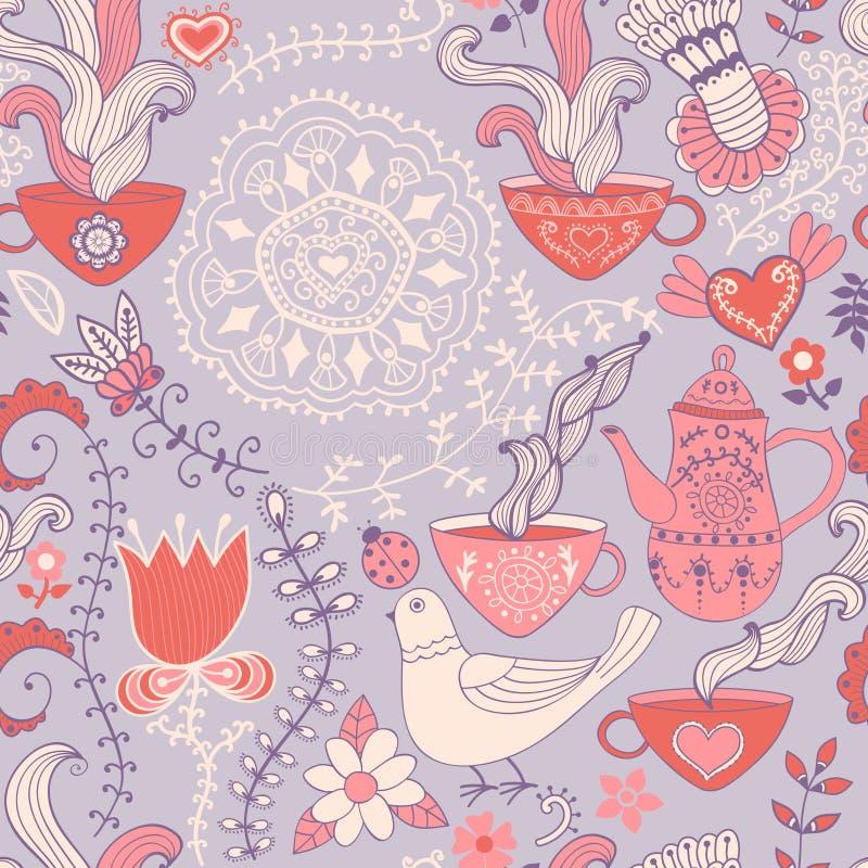 Картина ретро кофе безшовная, предпосылка чая, текстура с чашками иллюстрация вектора