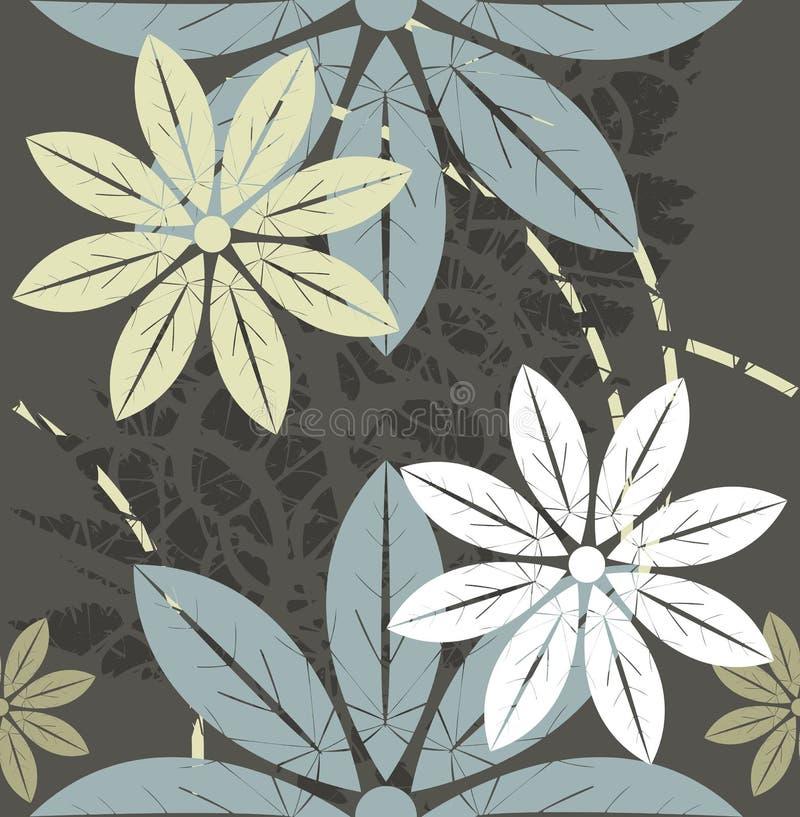 Картина ретро стиля флористическая безшовная с ультрамодными цветами бесплатная иллюстрация