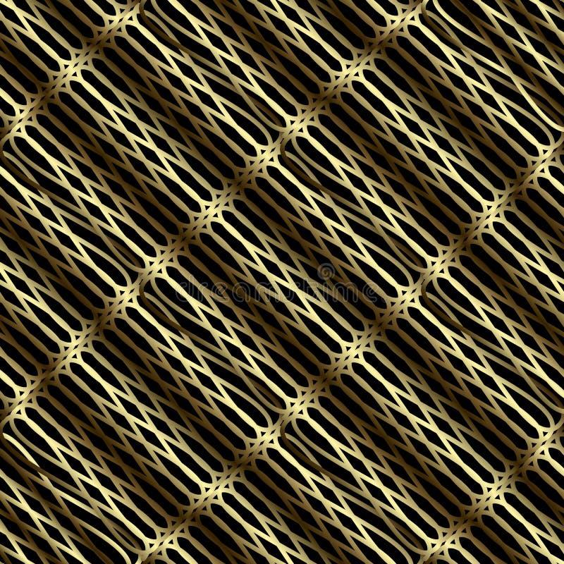 Картина решетки 3d золота безшовная Орнаментальная предпосылка решетки конспекта вектора Геометрический фон поверхности повторени иллюстрация вектора