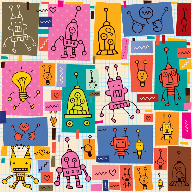 Картина роботов иллюстрация вектора