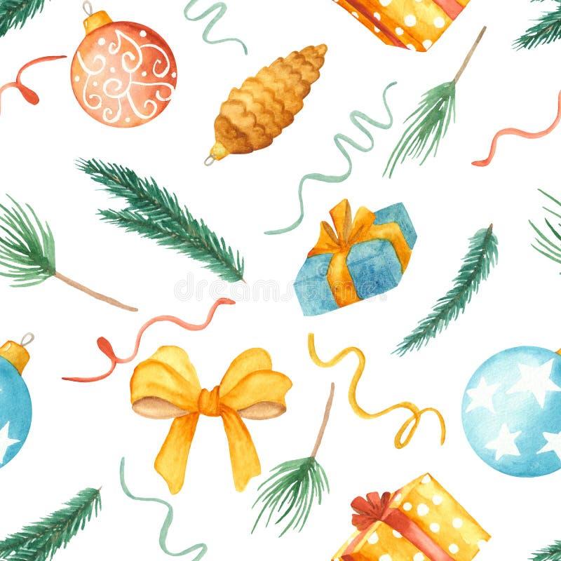 Картина рождества акварели безшовная Текстура с ветвями ели, игрушками рождества, шариками, подарками, смычком иллюстрация штока