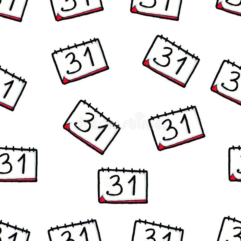 Картина рождества безшовная нарисованная вручную Календарь на белой предпосылке Новое Year' s Eve 31-ое декабря иллюстрация штока