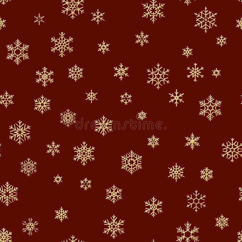 Картина рождества безшовная от белых снежинок на красной предпосылке 10 eps иллюстрация вектора