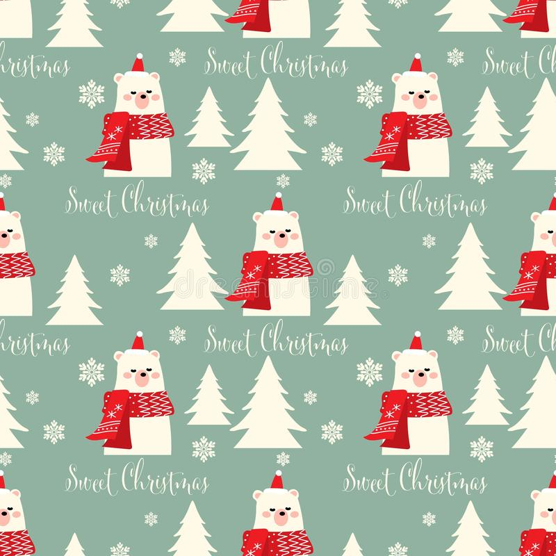 Картина рождества безшовная с милым медведем в красном шарфе с белыми соснами и сладким текстом рождества бесплатная иллюстрация
