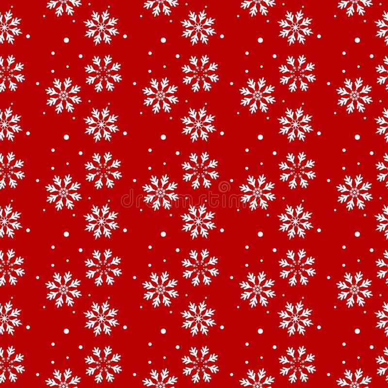 Картина рождества безшовная с предпосылкой снежинок абстрактной снежинки белые также вектор иллюстрации притяжки corel Красная пр иллюстрация штока