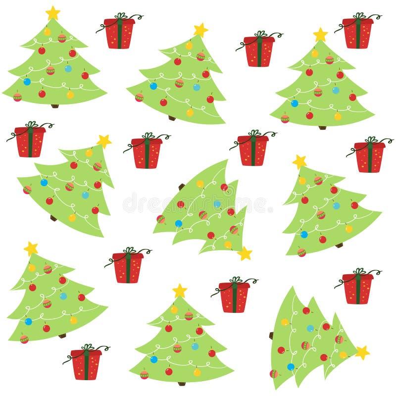 Картина рождества безшовная с рождественской елкой и орнаментом иллюстрация вектора