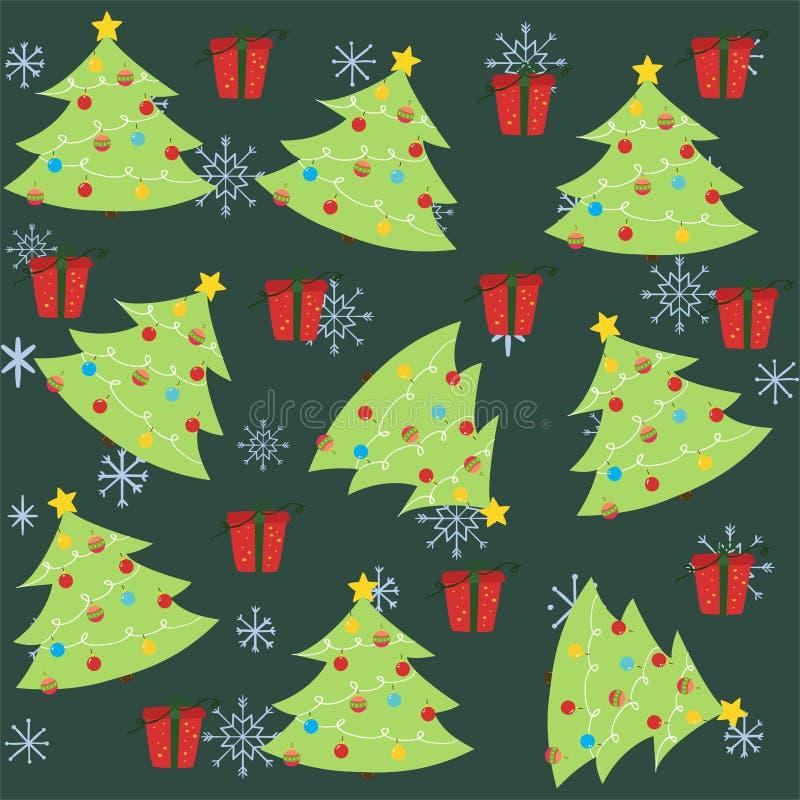 Картина рождества безшовная с рождественской елкой и орнаментом иллюстрация штока