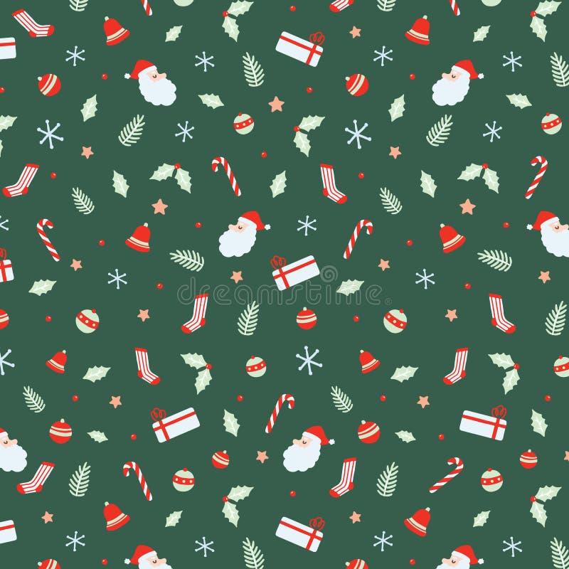 Картина рождества безшовная с Санта Клаусом, колоколами, шариком Xmas, тросточками конфеты, подарком, носками, лист рождества, ру иллюстрация вектора