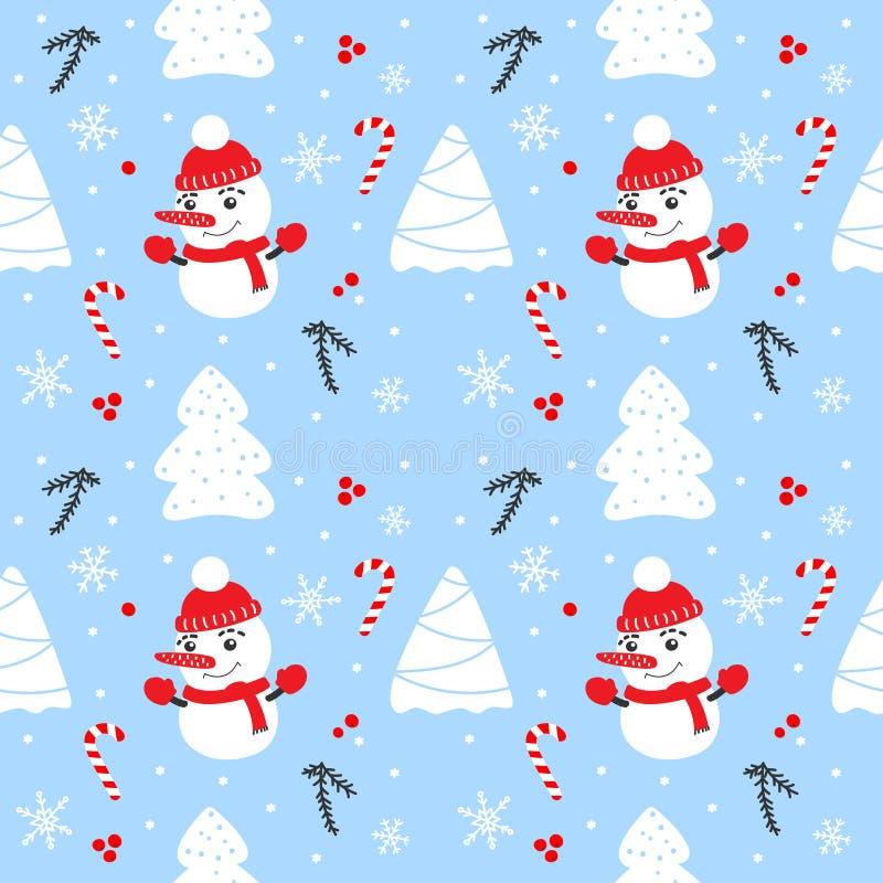 Картина рождества безшовная с снеговиком, елями, снежинками и конфетами бесплатная иллюстрация