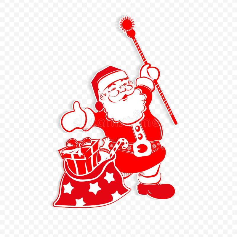 Картина рождества красная белая с Санта Клаусом со штатом и сумка с различными подарками иллюстрация вектора