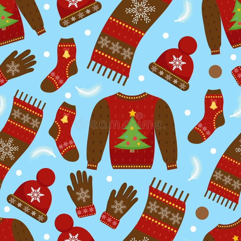 Картина рождества праздника безшовная Одежды бесконечная текстура зимы, предпосылка Теплый фон одеяния вектор бесплатная иллюстрация