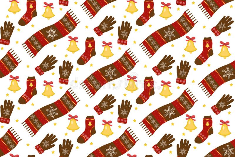 Картина рождества праздника безшовная Одежды бесконечная текстура зимы, предпосылка Теплый фон одеяния вектор иллюстрация штока