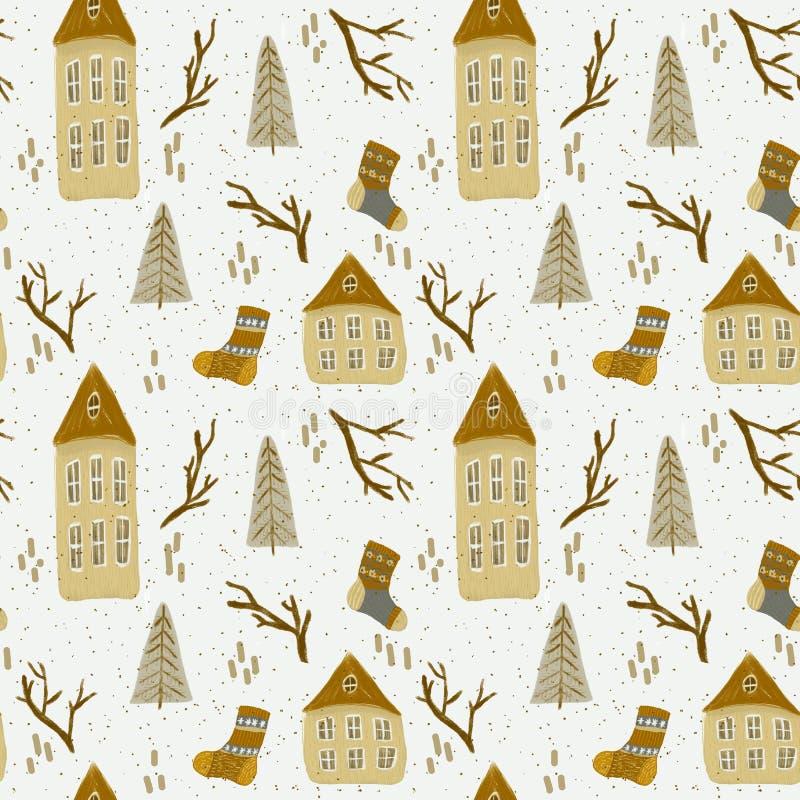 Картина рождества с домами бесплатная иллюстрация